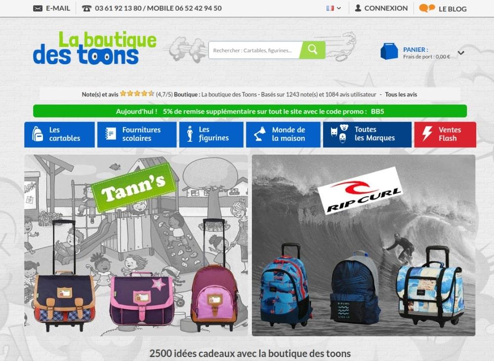 chaussures de sport 945ab 399b8 Boutique des Toons Fournitures scolaires et cartables en ...